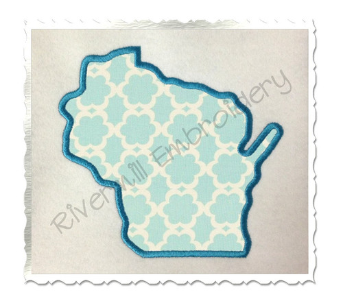 Applique State of Wisconsin Machine Embroidery Design