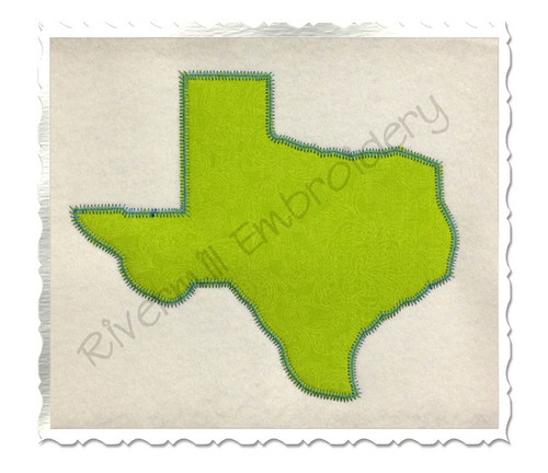Large Zig Zag Applique State of Texas Machine Embroidery Design