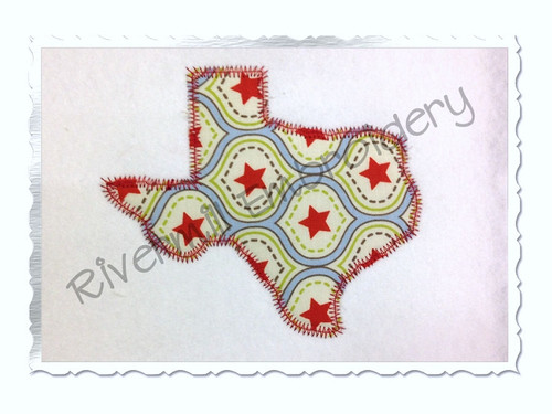 Zig Zag Applique State of Texas Machine Embroidery Design