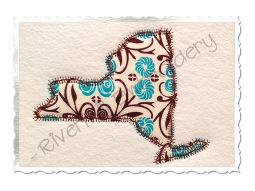 Zig Zag Applique State of New York Machine Embroidery Design