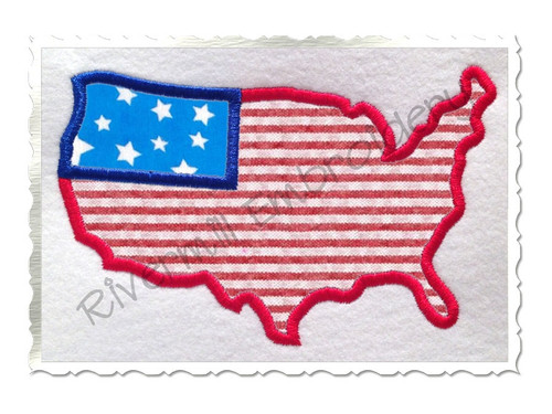 Applique United States USA Outline Flag Machine Embroidery Design