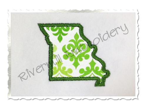 Small Applique State of Missouri Machine Embroidery Design