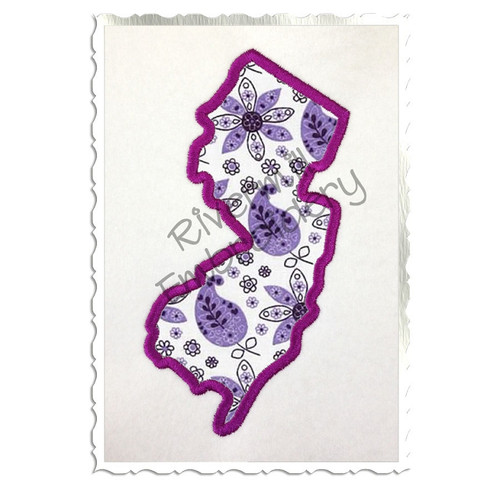 Applique State of New Jersey Machine Embroidery Design
