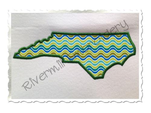 Large Applique State of North Carolina Machine Embroidery Design
