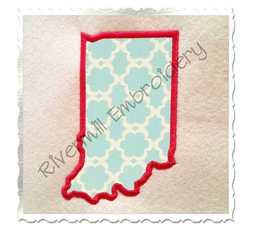 Applique State of Indiana Machine Embroidery Design