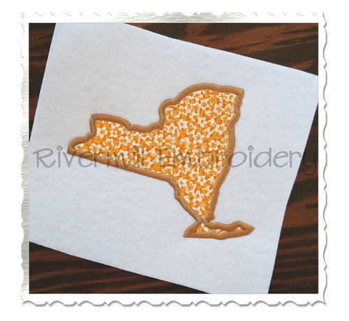 Applique State of New York Machine Embroidery Design