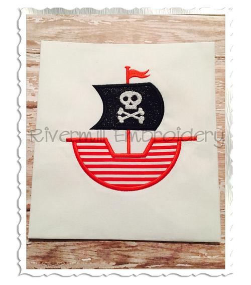 Applique Pirate Ship Machine Embroidery Design