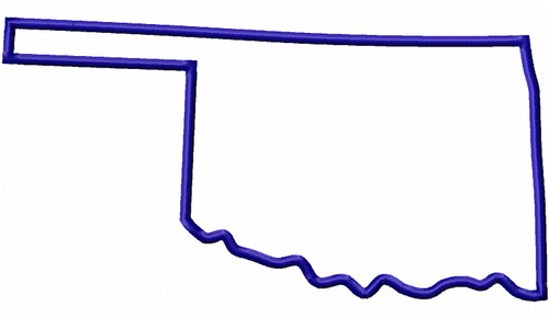 Large Applique State of Oklahoma Machine Embroidery Design