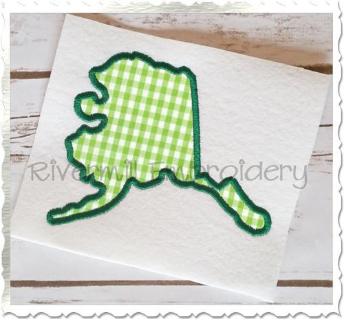 Applique State of Alaska Machine Embroidery Design