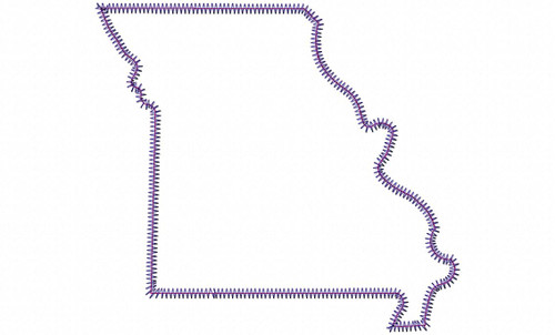 Large Zig Zag Applique State of Missouri Machine Embroidery Design