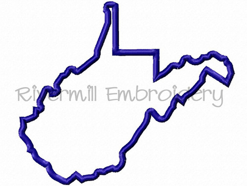Applique State of West Virginia Machine Embroidery Design