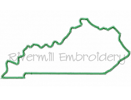 Large Zig Zag Applique State of Kentucky Machine Embroidery Design