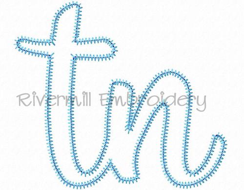 "Zig Zag Applique Tennessee ""tn"" Machine Embroidery Design"