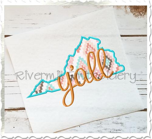 Applique Virginia Y'all Machine Embroidery Design