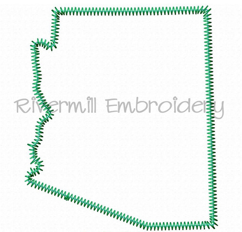 Zig Zag Applique State of Arizona Machine Embroidery Design