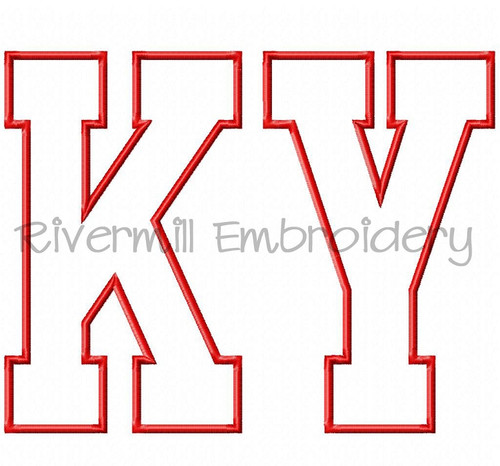 Large Applique Kentucky Varsity Style Machine Embroidery Design