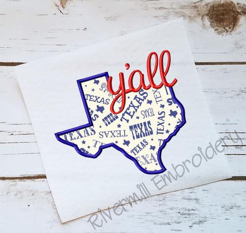 Applique Texas Y'all Machine Embroidery Design
