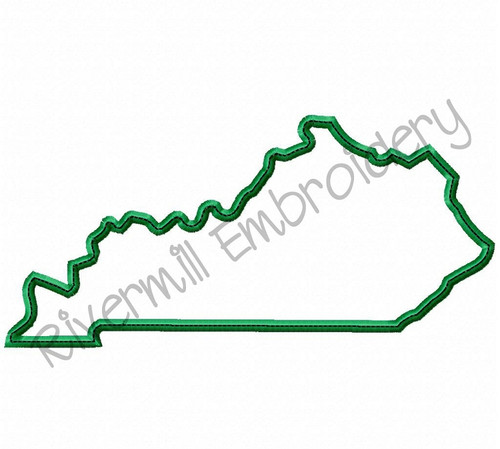 Large State of Kentucky Applique w/ Top Stitch Machine Embroidery Design