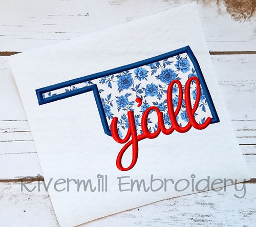 Applique Oklahoma Y'all Machine Embroidery Design