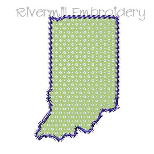 Zig Zag Applique State of Indiana Machine Embroidery Design