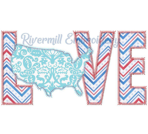 Zig Zag Applique United States USA Love Machine Embroidery Design