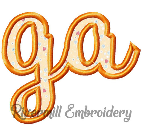"Applique Georgia ""ga"" Machine Embroidery Design"