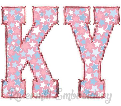 Large Zig Zag Applique Kentucky Varsity Style Machine Embroidery Design