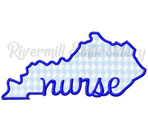 Applique Kentucky Nurse Machine Embroidery Design