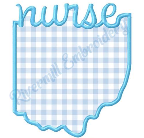 Applique Ohio Nurse Machine Embroidery Design