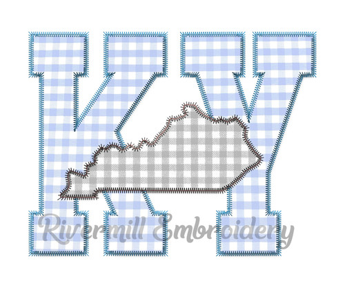 Large Zig Zag Applique Kentucky Letters & State Machine Embroidery Design
