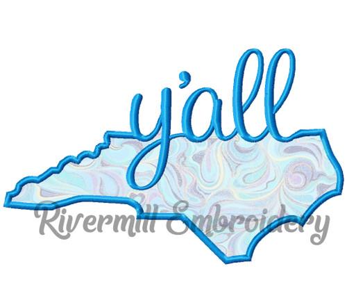 Applique North Carolina Y'all Machine Embroidery Design