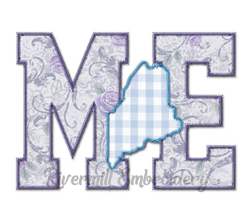 Large Zig Zag Applique Maine Letters & State Machine Embroidery Design