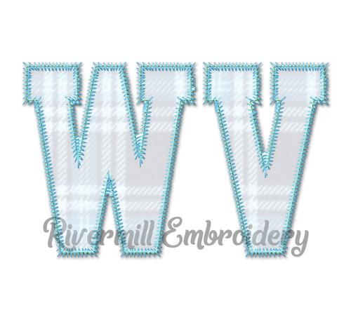 Zig Zag Applique West Virginia Varsity Style Machine Embroidery Design