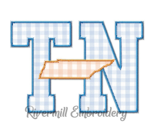 Zig Zag Applique TN Tennessee Letters & State Machine Embroidery Design