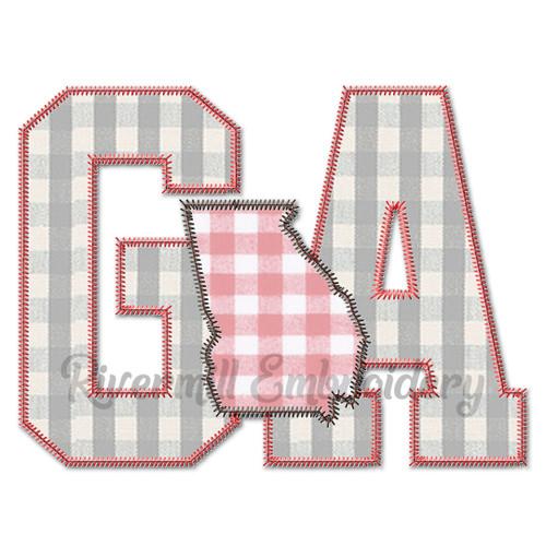 Zig Zag Applique Georgia GA Letters & State Machine Embroidery Design