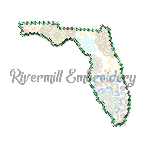 Zig Zag Applique Florida Machine Embroidery Design