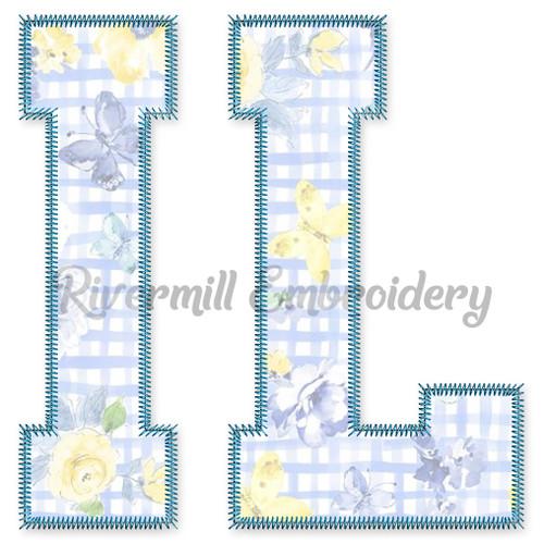 Large Zig Zag Applique IL Illinois Varsity Style Machine Embroidery Design