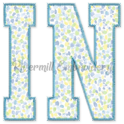 Large Zig Zag Applique IN Indiana Varsity Style Machine Embroidery Design