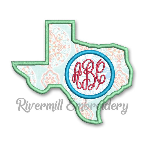 Texas Applique Monogram Frame Machine Embroidery Design