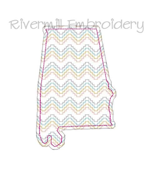 Raggy Applique State of Alabama Machine Embroidery Design