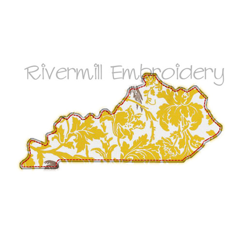 Raggy Applique State of Kentucky Machine Embroidery Design