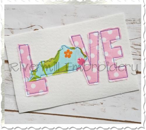 Raggy Applique Kentucky Love Machine Embroidery Design