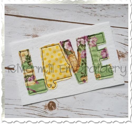 Raggy Applique Alabama Love Machine Embroidery Design