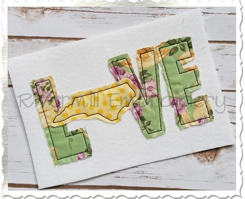 Raggy Applique North Carolina Love Machine Embroidery Design