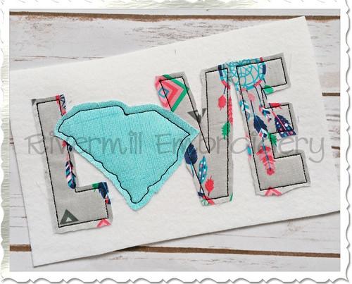 Raggy Applique South Carolina Love Machine Embroidery Design