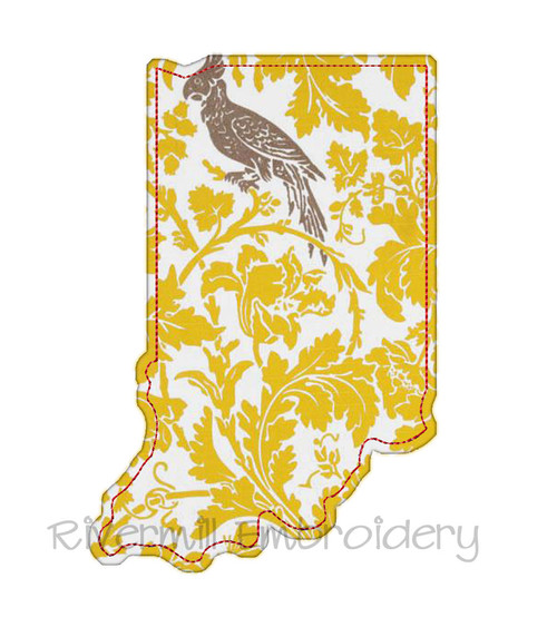 Raggy Applique State of Indiana Machine Embroidery Design