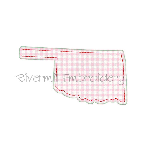 Raggy Applique State of Oklahoma Machine Embroidery Design