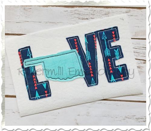 Raggy Applique Oklahoma Love Machine Embroidery Design