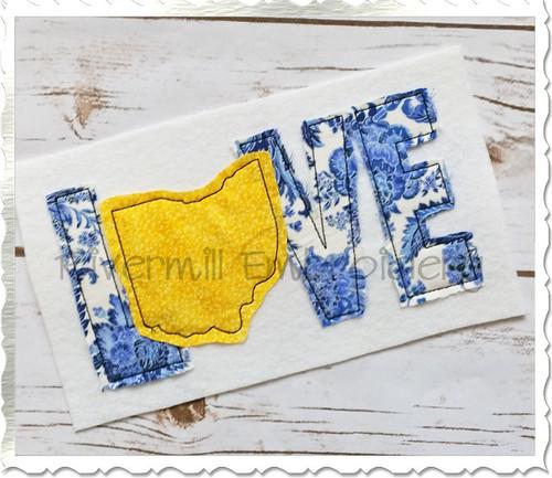 Raggy Applique Ohio Love Machine Embroidery Design