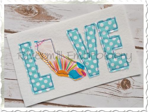 Raggy Applique California Love Machine Embroidery Design